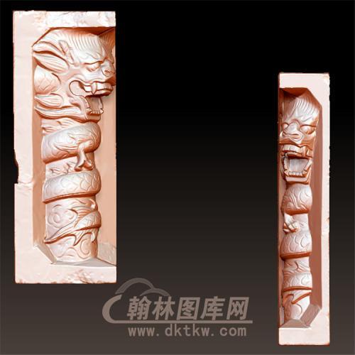 龙柱立体圆雕图(YML-029)