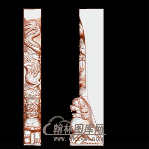 墓碑半面龙柱立体圆雕图(YML-030)