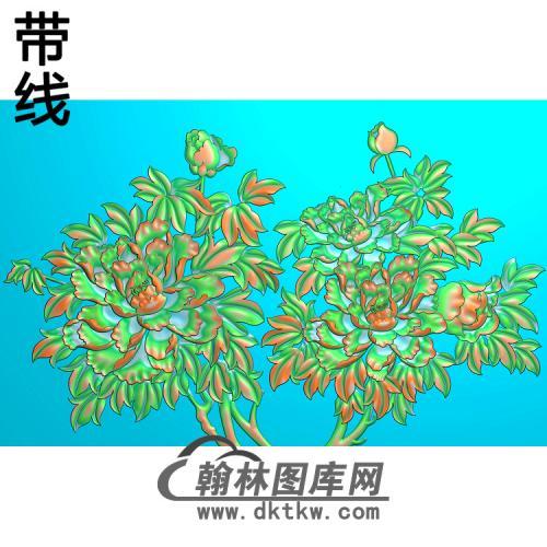 牡丹花鸟精雕图(MD-012)