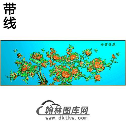 牡丹花鸟精雕图(MD-198)
