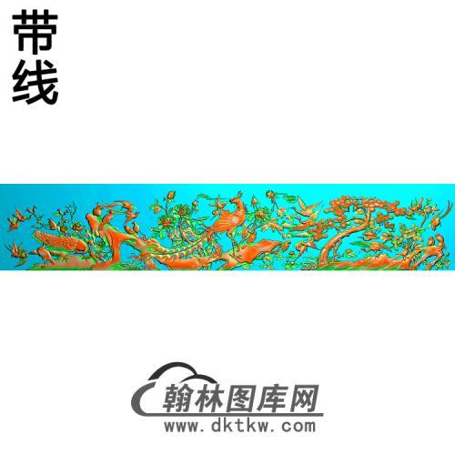 牡丹花鸟精雕图(MD-387)