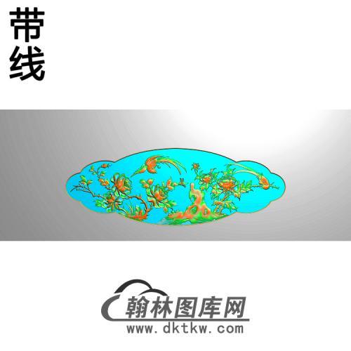 牡丹花鸟精雕图(MD-390)