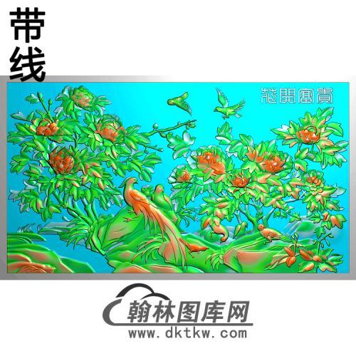 牡丹花鸟精雕图(MD-445)
