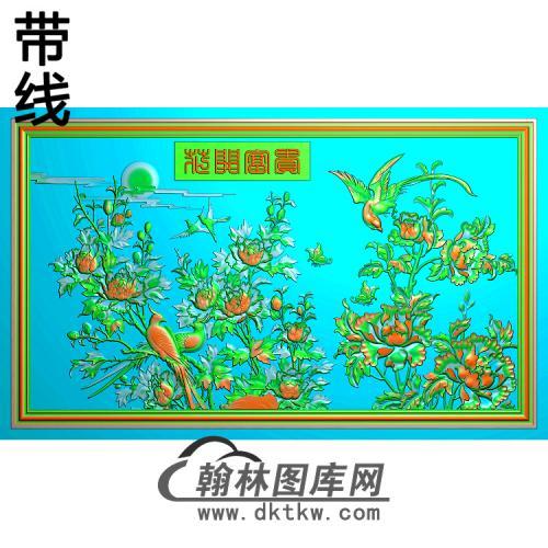 牡丹花鸟精雕图(MD-453)