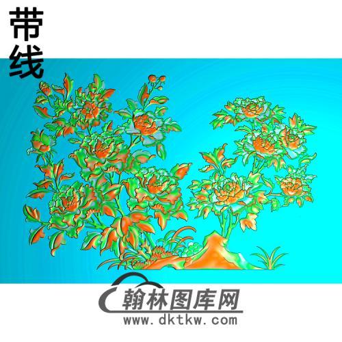 牡丹花鸟精雕图(MD-479)