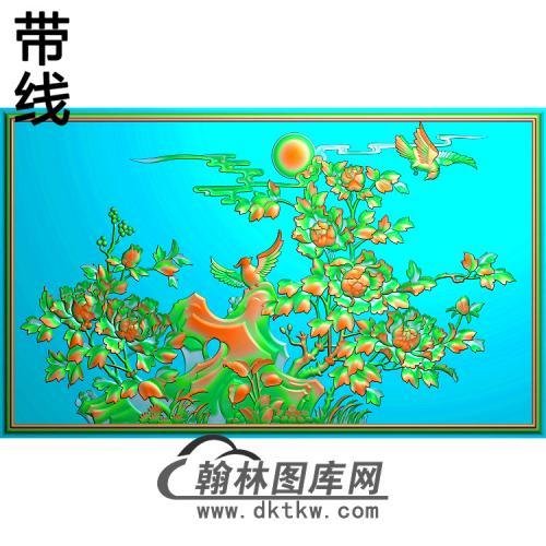 牡丹花鸟精雕图(MD-484)