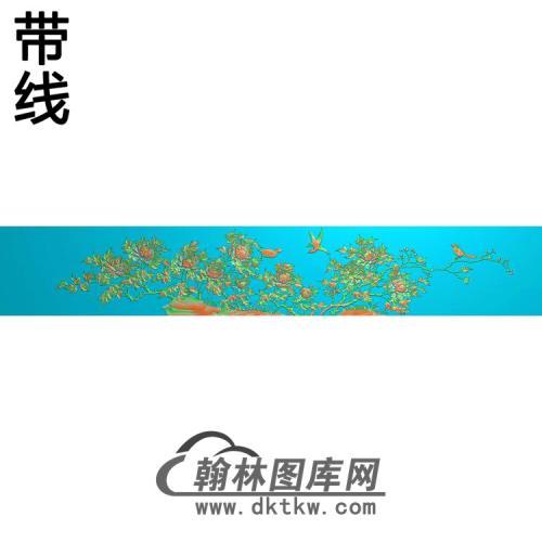 牡丹花鸟精雕图(MD-542)