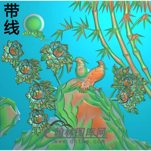 牡丹花鸟精雕图(MD-549)