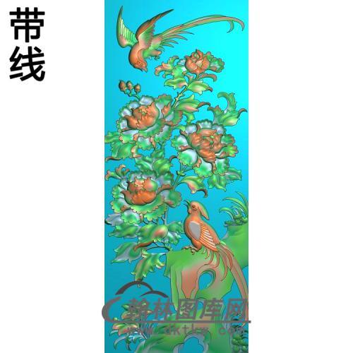 牡丹花鸟精雕图(MD-558)