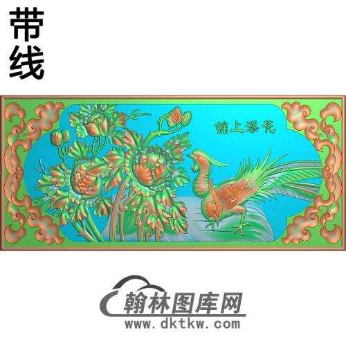 牡丹花鸟精雕图(MD-578)