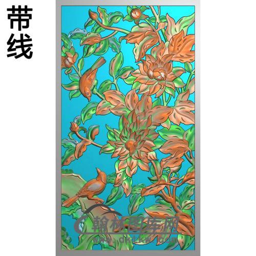 牡丹花鸟精雕图(MD-583)