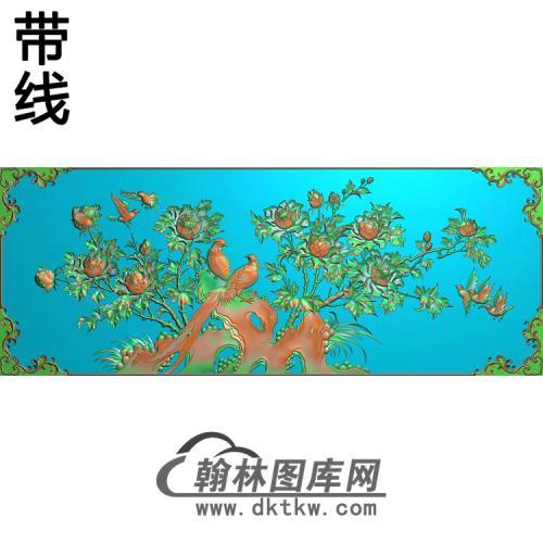 牡丹花鸟精雕图(MD-613)