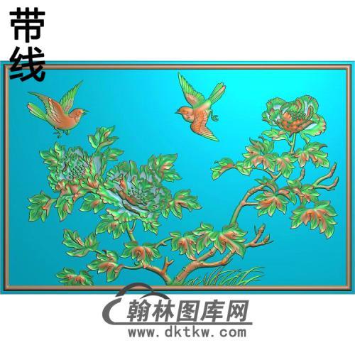 牡丹花鸟精雕图(MD-694)