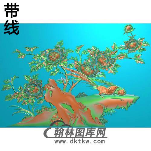 牡丹花鸟精雕图(MD-701)