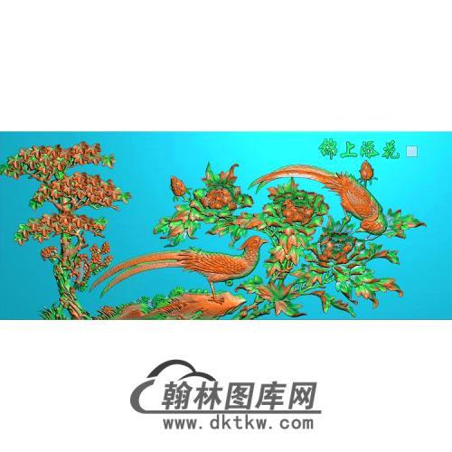 牡丹花鸟精雕图(MD-955)