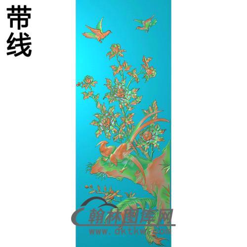 牡丹花鸟精雕图(MD-957)