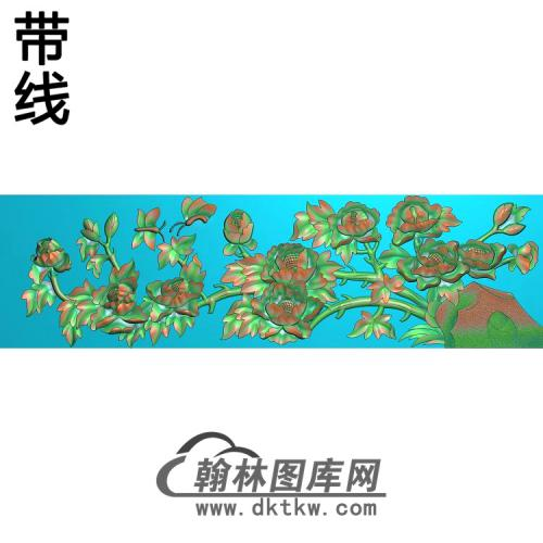 牡丹花鸟精雕图(MD-960)