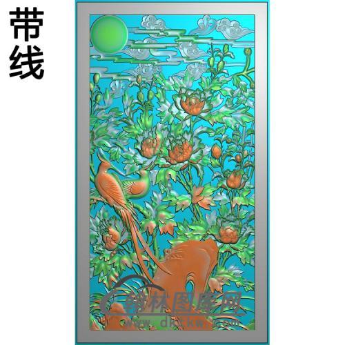 牡丹花鸟精雕图(MD-963)