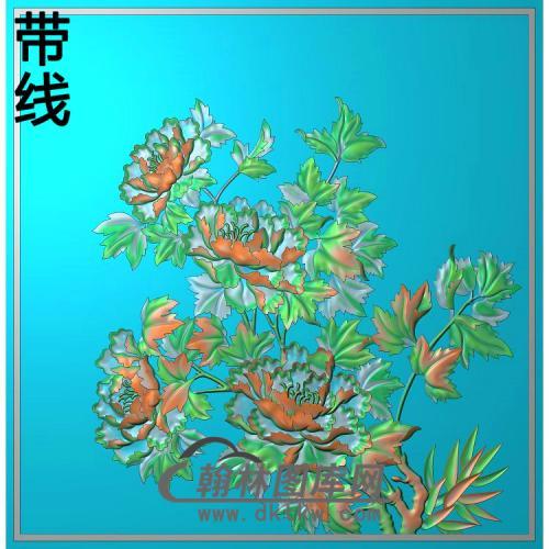 牡丹花鸟精雕图(MD-964)