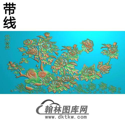 牡丹花鸟精雕图(MD-974)