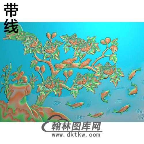 牡丹花鸟精雕图(MD-975)