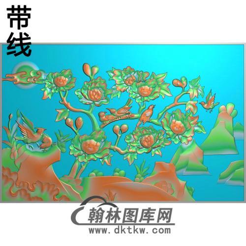 牡丹花鸟精雕图(MD-976)