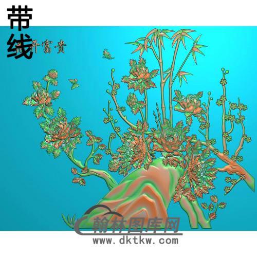 牡丹花鸟精雕图(MD-979)