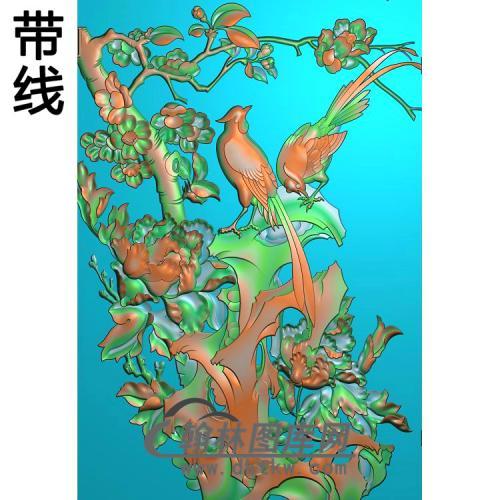 牡丹花鸟精雕图(MD-981)