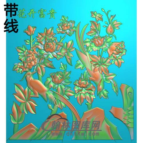 牡丹花鸟精雕图(MD-982)