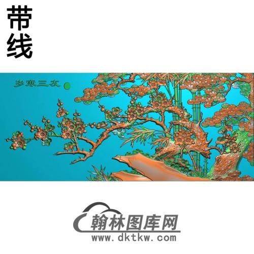 109岁寒三友3精雕图(MH-008)