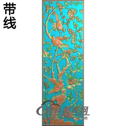 195拉通梅花竖花板精雕图(MH-009)