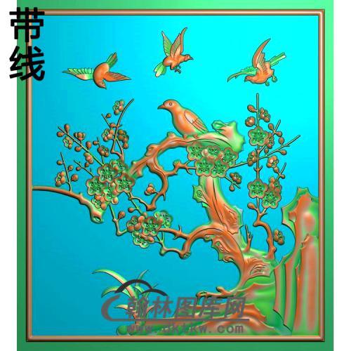 上门梅花精雕图(MH-365)