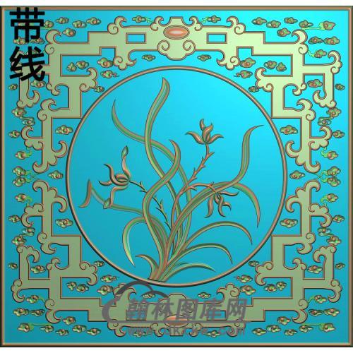 对橱上方板-兰花精雕图(LH-116)