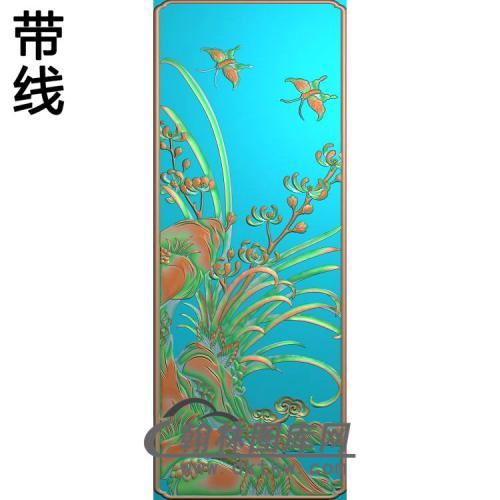 兰花顶箱柜大门板精雕图(LH-125)