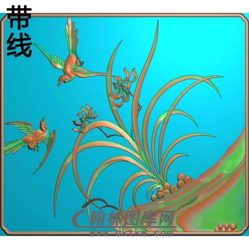 兰花门板精雕图(LH-126)