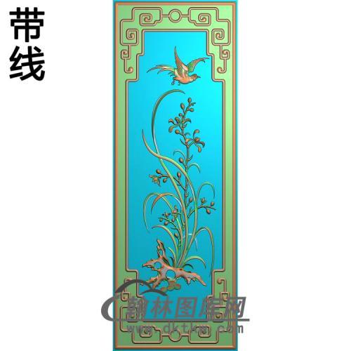 沙发靠背兰花精雕图(LH-148)