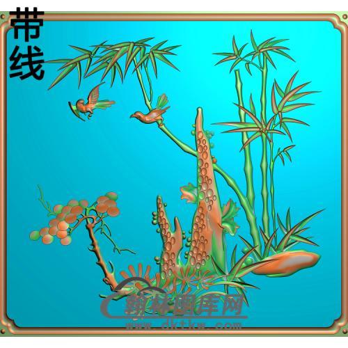 小门竹子3精雕图(ZZ-284)