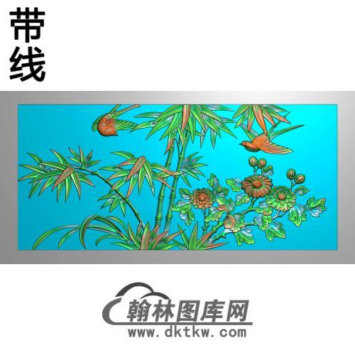 竹鸟图精雕图(ZZ-289)