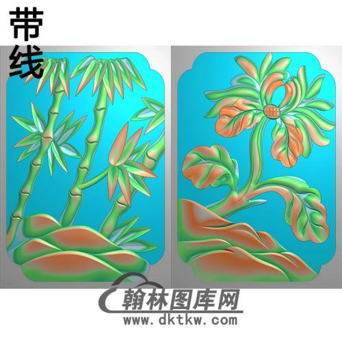 竹子 牡丹 500x680x10精雕图(ZZ-301)