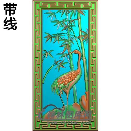 竹子鹤1精雕图(ZZ-309)