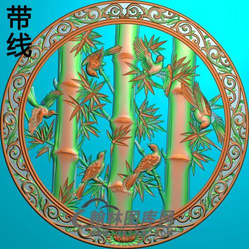 竹子花鸟3精雕图(ZZ-310)