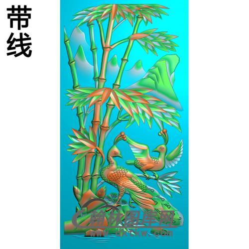 竹子孔雀600x1200x20 锥刀精雕图(ZZ-313)