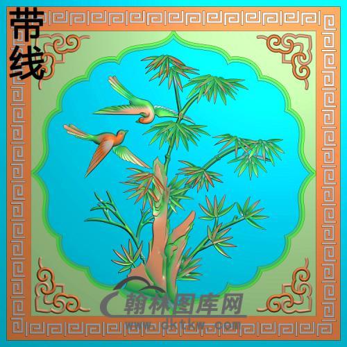 竹子鸟99x99精雕图(ZZ-314)