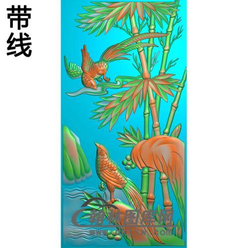 竹子喜鹊600X1200X20精雕图(ZZ-316)