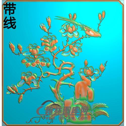 GZ-451-四季平安桃花 下精雕图(ZHN-005)