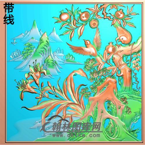 HD-055-花草动物系列精雕图(ZHN-034)