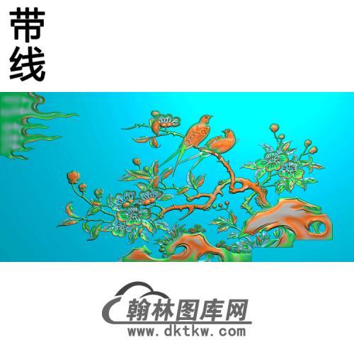 花鸟侧海棠有线精雕图(ZHN-130)
