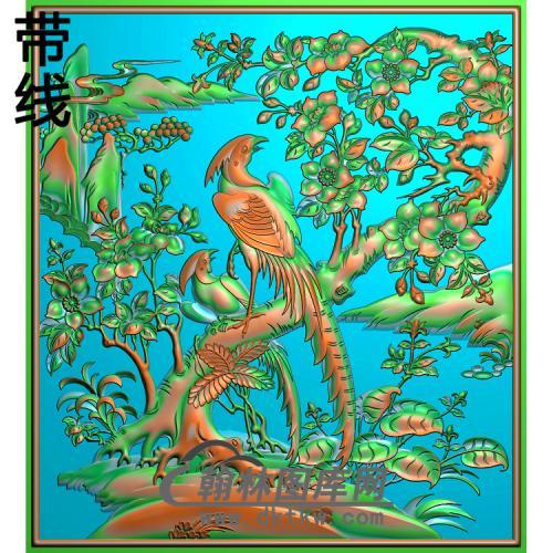 花鸟顶相柜上花精雕图(ZHN-196)