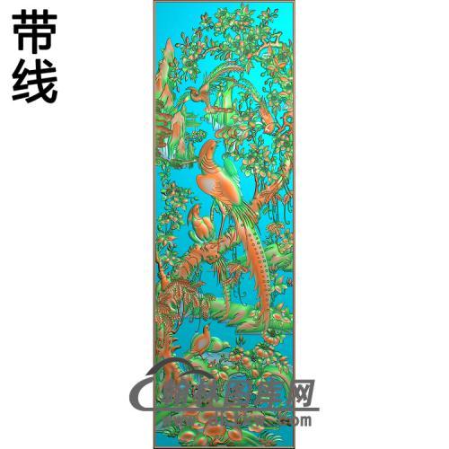 花鸟顶箱柜中花  精雕图(ZHN-197)