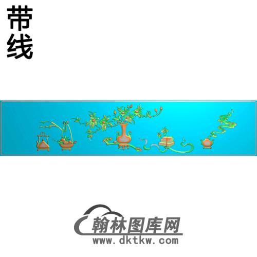 花瓶底板一对精雕图(ZHN-198)
